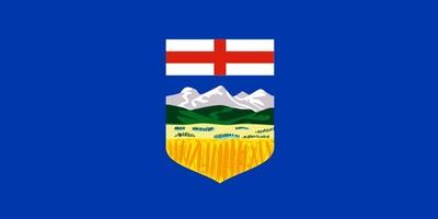 Die Flagge von Alberta zeigt auf ultramarinblauem Hintergrund das Wappen von Alberta.