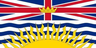 Die Flagge von British Columbia stellt als Wappenbanner die Figuren aus dem Schild des Provinzwappen dar.