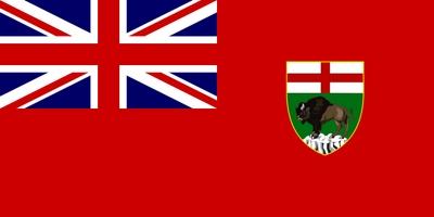Die Flagge von Manitoba zeigt die britische Union Flag im Gösch sowie das Wappen von Manitoba im Flugteil.