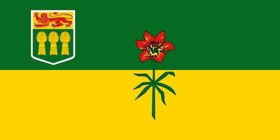 Die Flagge von Saskatchewan ist grün-gold geteilt, mit dem Wappen von Saskatchewan in der Gösch und einer Lilium philadelphicum, die sich über beide Farbfelder erstreckt.